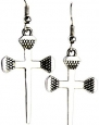 Disciples Christian Cross Dangle Earrings Silver