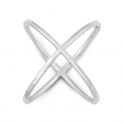 Sterling Silver X Criss-Cross Long Ring (Size 8)