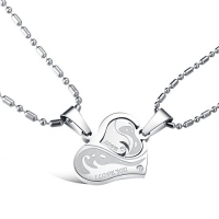 His & Hers Matching Set Titanium Stainless Steel Couple My Heart Is Only for You Pendant Necklace Love Style in a Gift Box