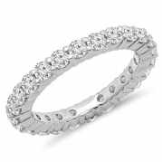 1.00 Carat (ctw) 14K White Gold Round Diamond Ladies Eternity Anniversary Stackable Ring Band (Size 6)