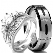 Wedding rings set His and Hers TITANIUM & STAINLESS STEEL Engagement Bridal Rings set (Size Men's 13 Women's 10)