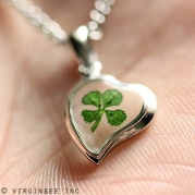 REAL CLOVER 4-LEAF SHAMROCK HEART GOOD LUCK CHARM PENDANT STERLING 925 SILVER CHAIN NECKLACE