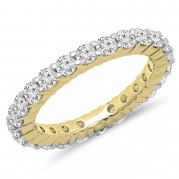 1.00 Carat (ctw) 14K Yellow Gold Round Diamond Eternity Wedding Anniversary Stackable Band (Size 5.5)