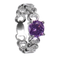New Fashion Silver Plated Heart ring with Purple Imitation Diamond Classic Lady Beautiful Jewelry Silver Plated Ring