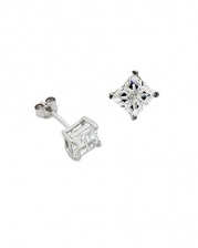 Square Invisible Cut Clear CZ Basket Set Sterling Silver Stud Earrings 4mm
