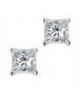 Princess Cut Square CZ Basket Set Sterling Silver Stud Earrings 6mm