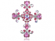 Victorian Pink Rose Crystal Rhinestone Flourish Floral Holy Cross Pin Brooch