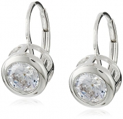 Platinum-Plated Sterling Silver Round-Cut Bezel-Set Cubic Zirconia Earrings (3.8 cttw)