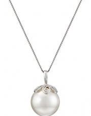Sterling Silver and White Simulated Shell Pearl (13 mm) Pendant Necklace , 18