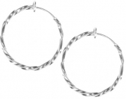 Pair of Jumbo Twisted Silver Colored Clip On Hoop Earrings-2 & 1/2 inch Non-Pierced Hoop Earrings