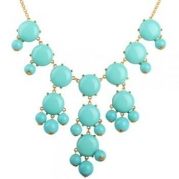 Bubble Necklace, Gold Tone Necklace, Turquoise Blue Necklace, Statement Necklace(Fn0508-M-Turquoise Blue)