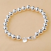 Korean Popular 925 Sterling Silver Beads Chain Bracelet Bangle-Silver