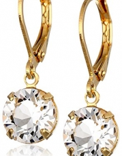 1928 Jewelry 14k Gold-Dipped Genuine Swarovski Crystal Drop Earrings