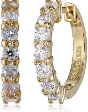 18k Yellow-Gold Plated Sterling Silver and Cubic Zirconia Hoop Earrings (0.7 cttw)