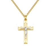 14k Two Tone Gold Jesus Cross Religious Charm Pendant with 1.5mm Flat Open wheat Chain Necklace - 18 inches