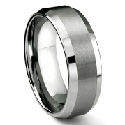 8MM Tungsten Metal Men's Wedding Band Ring in Comfort Fit and Matte Finish Sz 8.0