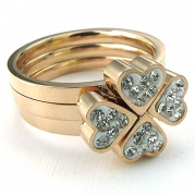 KONOV Jewelry Womens Stainless Steel Ring, 3pcs Combination Clover Band, Rose Gold, Size 6