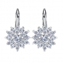 Bamoer Snowflake Cubic Zirconia White Gold Plated Lever Back Earrings