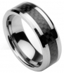 Men's Tungsten Ring/ Wedding Band with Carbon Fiber Inlay, Sizes 7 - 10 (rg4) (8)