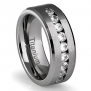 8MM Men's Titanium Ring Wedding Band with Flat Brushed Top and Channel Set CZ [Size 11]