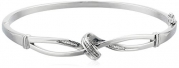 Sterling Silver Diamond Knot Bangle Bracelet (1/7 cttw, J Color, I3 Clarity)