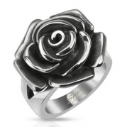 STR-0068 Stainless Steel Single Rose Cast Band Ring (11)