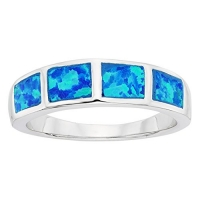 Sterling Silver Blue Opal Band Ring (Size 7)