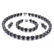 PearlsOnly MarieAnt Black 8.0-8.5mm AA Freshwater Cultured Pearl Set