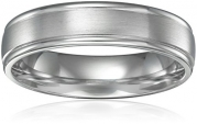 Men's Platinum Comfort-Fit Wedding Band with High-Polish Round Edges with Satin Center (6 mm), Size 7.5