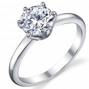 1.25 Carat Round Brilliant Cubic Zirconia CZ Sterling Silver 925 Wedding Engagement Ring Size 5