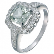 Sterling Silver Green Amethyst Ring (1.40 CT) In Size 7
