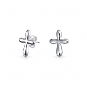 Christmas Gifts 925 Silver Petite Religious Cross Stud Earrings Rhodium Plated