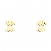 14k Gold Plated Brass Puppy Stud Earrings with Screwback