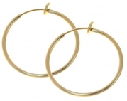 Pair of 1 inch Gold Color Non Pierce Clip on Hoop Earrings for Teen Girls-Women