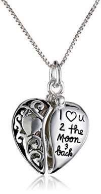 Sterling Silver Heart I Love U 2 The Moon and Back Pendant Necklace, 18