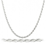 Real 925 Sterling Silver 2mm Rope Chain (sterling-silver, 30 Inches)