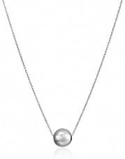 14k White Gold Bead Pendant Necklace, 18