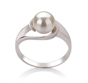 Clare White 6-7mm AAA Quality Freshwater 925 Sterling Silver Pearl Ring - Size-9