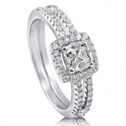 BERRICLE Sterling Silver 0.75 ct.tw Cushion Cubic Zirconia CZ Halo Engagement Wedding Ring Set