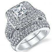 1 Carat Princess Cut Cubic Zirconia Sterling Silver 925 Wedding Engagement Ring Band Set 8