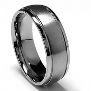 7 MM High Polish / Matte Finish Titanium ring with Grooves size 6.5
