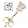 IGI Certified 1/4 CT Diamond Stud Earrings 14k Yellow Gold