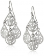 1928 Jewelry Silver Tone Filigree Teardrop Chandelier Earrings