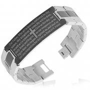 Stainless Steel Black Silver-Tone Religious Cross English Prayer Mens Bracelet