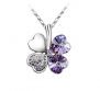 Hot NEW Silver Plated Crystal Lucky Clover Pendant Necklace Fashion Jewelry