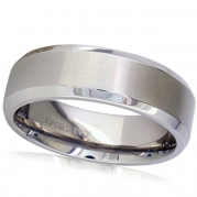 7mm Beveled Edge Comfort Fit Titanium Plain Wedding Band ( Available Ring Sizes 7-12 1/2) sz 7.5