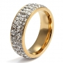 Vnox Jewelry Womens Stainless Steel Eternity Ring Crystal Circle Round,Gold,7mm Width,Size 11