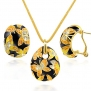 18K Gold Plated Enamel Butterfly Women Vintage Jewelry Sets Austrian Crystals Statement Necklace Earring Set