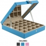 Earring Organizer - Classic 25 Section Jewelry Box / Case / Holder for Earrings, Rings, Necklaces, Jewelry, Cufflinks or Collections. 25 Small Compartments with Elegant Large Mirror - Blue