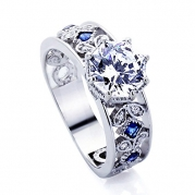 Sterling Silver Rhodium Plated Octagon Cut CZ, Blue Stone Accent Engagement Ring ( Size 5 to 9 ) - 7.5